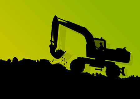 industrial machine: Excavator loader hydraulic machine tractor and workers digging at industrial construction site vector background illustration