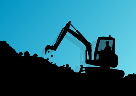excavating machine: Excavator loader hydraulic machine tractor and workers digging at industrial construction site vector background illustration