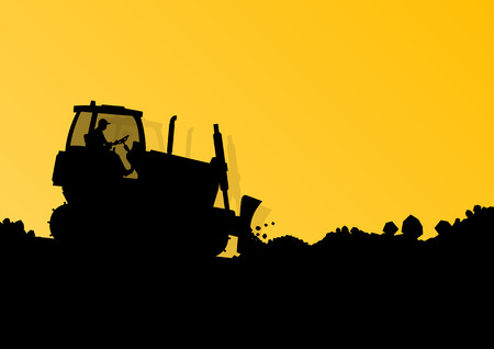 bulldozer: Excavator loader hydraulic machine tractor and workers digging at industrial construction site vector background illustration