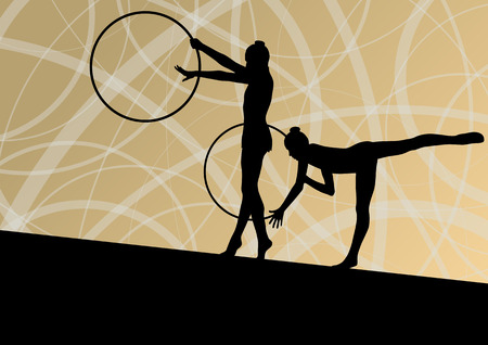 young gymnastics: Active young girls calisthenics sport gymnasts silhouettes in spinning rings abstract background illustration vector Illustration