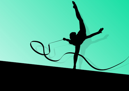 rhythmic gymnastics: Joven silueta niña calistenia deporte gimnasta Activo en acrobacias volando cinta de fondo abstracto ilustración vectorial
