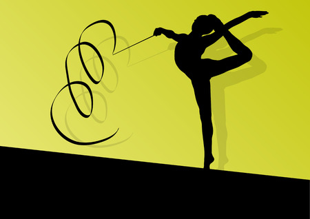 Active young girl calisthenics sport gymnast silhouette in acrobatics flying ribbon abstract background illustration vector Illustration