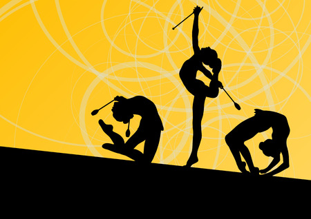 calisthenics: Active young girls calisthenics sport gymnasts silhouettes with clubs in acrobatics abstract background illustration vector