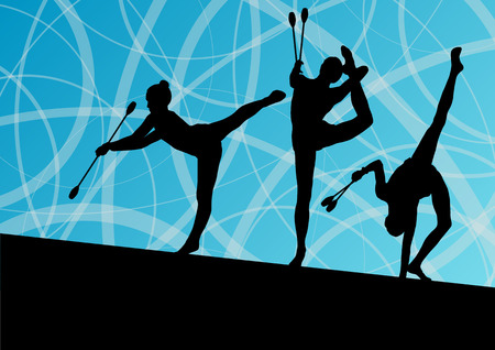 rhythmic: Active young girls calisthenics sport gymnasts silhouettes with clubs in acrobatics abstract background illustration vector