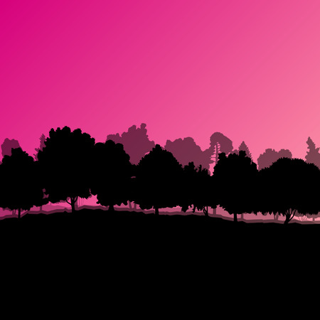 Forest trees silhouettes natural wild landscape detailed illustration background vector Vector