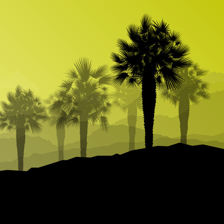 mirage: Palm tree desert oasis forest silhouettes wild nature landscape background illustration vector for poster