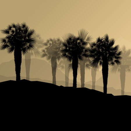 growth hot: Palm tree desert oasis forest silhouettes wild nature landscape background illustration vector for poster