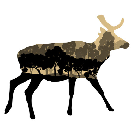 jungle jumping: Deer wild animal silhouette in nature forest landscape abstract background illustration vector Illustration