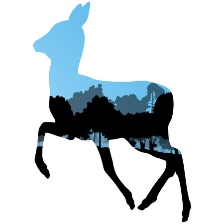 Doe venison deer animal silhouettes in wild nature forest landscape abstract background illustration vector Illustration