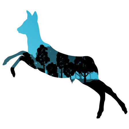 jungle jumping: Doe venison deer animal silhouettes in wild nature forest landscape abstract background illustration vector Illustration
