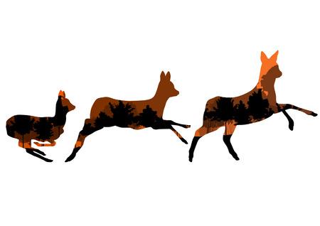 venison: Doe venison deer animal silhouettes in wild nature forest landscape abstract background illustration vector Illustration