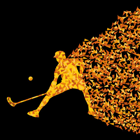 floorball: Floorball player silhouette sport vector background concept made of triangular fragments explosion for poster