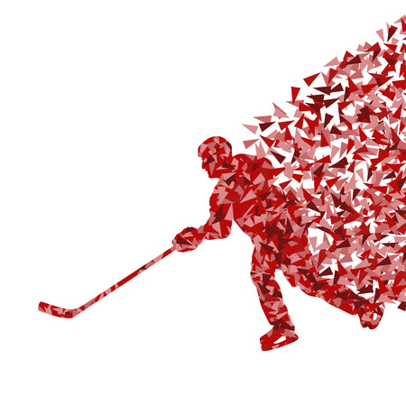 Ice hockey player silhouette sport abstract vector background concept made of triangular fragments exploasion for poster Vector
