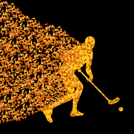 floorball: Floorball player vector silhouette made of triangle fragments vector abstract background