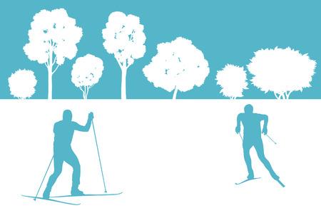 hombres maduros: Esquiador en vector de fondo de los bosques de invierno concepto abstracto para el cartel