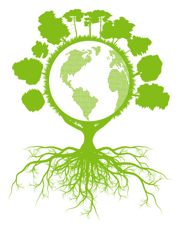 climate change: Tree world globe ecology vector background concept with roots for poster Illustration