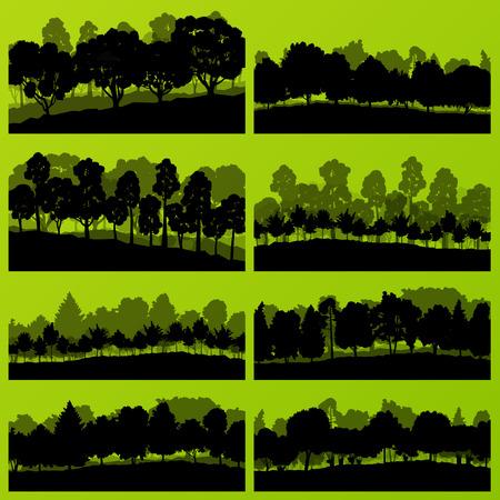 pine forest: Forest trees silhouettes natural wild landscape detailed illustration background vector Illustration