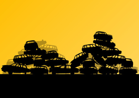 pile engine: Old used automobile cars metal scrapyard graveyard landscape in industrial metal recyclable ecology concept vector background illustration