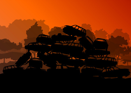 scrapyard: Old used automobile cars metal scrapyard graveyard landscape in industrial metal recyclable ecology concept vector background illustration