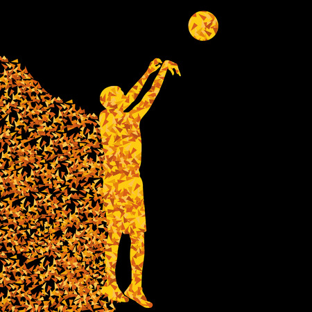Basketball player winner vector background concept isolated on black made of triangular fragments explosion for poster