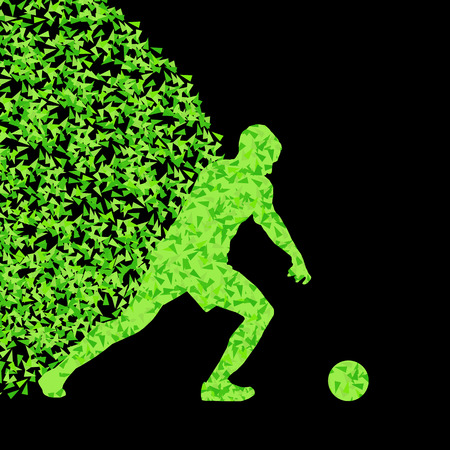 football fan: Soccer player winner vector background concept isolated on black made of triangular fragments explosion for poster