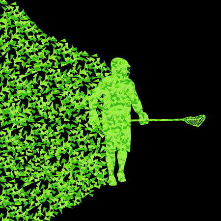lacrosse: Lacrosse players active sports silhouette background illustration vector concept made of triangular fragments explosion for poster
