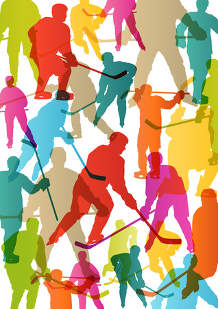 hockey background: Active young men ice hockey sport silhouettes skating in winter sports abstract background illustration vector