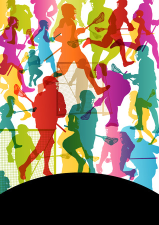 Lacrosse players active men sports silhouettes abstract background illustration vector Vector