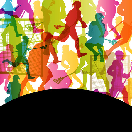 Lacrosse players active men sports silhouettes abstract background illustration vector Stock Vector - 25990361