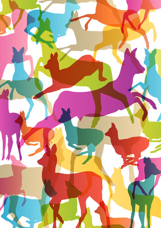 taxidermy: Doe venison deer silhouettes in abstract animal background illustration vector Illustration