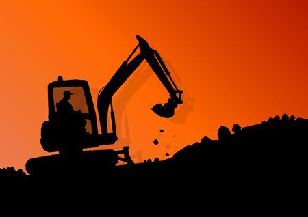 idraulico: Caricatore di escavatore trattore macchina idraulica e lavoratori di scavo presso il cantiere industriale di sfondo illustrazione vettoriale
