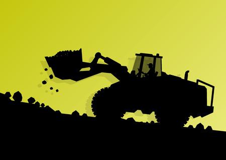 idraulico: Caricatore di escavatore trattore e lavoratori scavo presso industriale cantiere sfondo illustrazione vettoriale macchina idraulica
