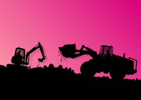 Excavator loader hydraulic machine tractor and workers digging at industrial construction site vector background illustration Vector