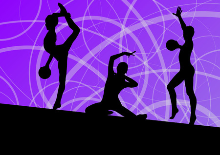 sports training: Active young girls calisthenics sport gymnasts silhouettes with ball abstract background illustration vector