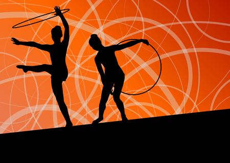 calisthenics: Active young girls calisthenics sport gymnasts silhouettes in spinning rings abstract background illustration vector Illustration