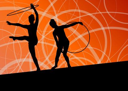 calisthenics: Calistenia chicas j�venes activos deportivos gimnastas siluetas en anillos giratorios fondo abstracto ilustraci�n vectorial