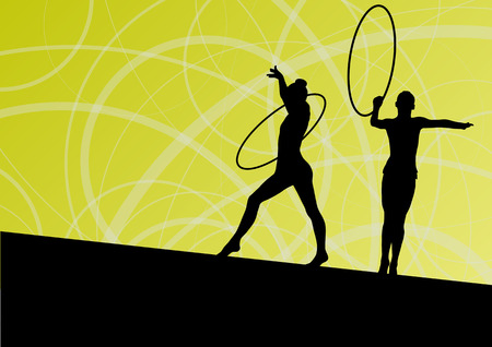 rhythmic gymnastic: Active young girls calisthenics sport gymnasts silhouettes in spinning rings abstract background illustration vector Illustration