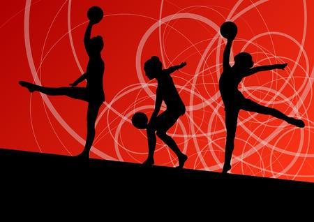 calisthenics: J�venes calistenia ni�as gimnastas deportivas activas siluetas con la bola de fondo abstracto ilustraci�n vectorial Vectores