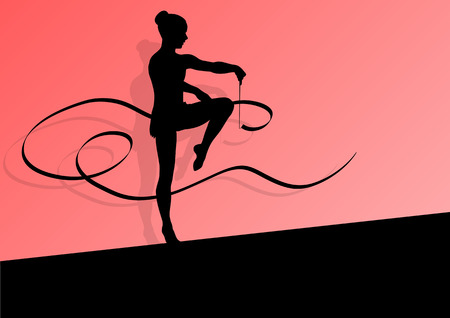 acrobat gymnast: Active young girl calisthenics sport gymnast silhouette in acrobatics flying ribbon abstract background illustration vector Illustration