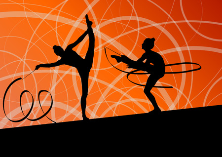 rhythmic gymnastic: Active young girl calisthenics sport gymnast silhouette in acrobatics flying ribbon abstract background illustration vector Illustration