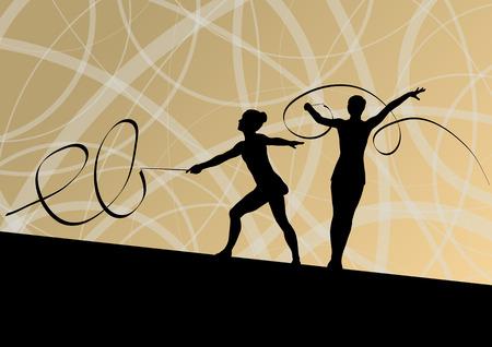 calisthenics: Joven silueta ni�a calistenia deporte gimnasta Activo en acrobacias volando cinta de fondo abstracto ilustraci�n vectorial