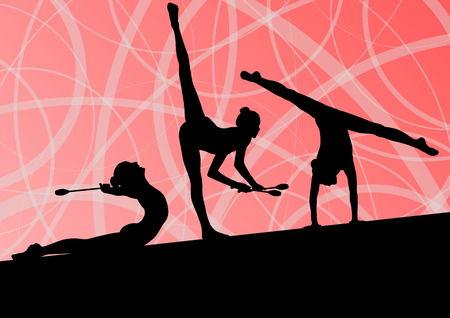 rhythmic gymnastic: Active young girls calisthenics sport gymnasts silhouettes with clubs in acrobatics abstract background illustration vector