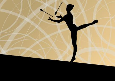 acrobacia: Jóvenes calistenia niñas gimnastas deportivas activas siluetas con los clubes en la acrobacia de fondo abstracto ilustración vectorial