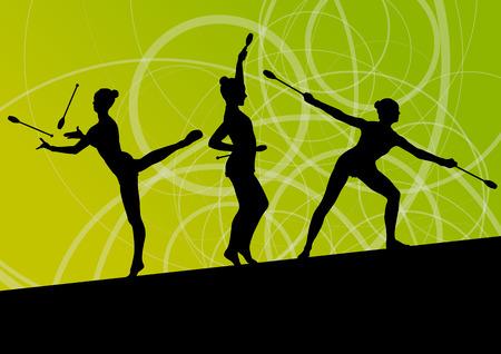 calisthenics: J�venes calistenia ni�as gimnastas deportivas activas siluetas con los clubes en la acrobacia de fondo abstracto ilustraci�n vectorial