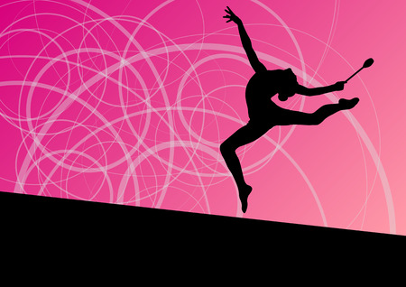 acrobat gymnast: Active young girls calisthenics sport gymnasts silhouettes with clubs in acrobatics abstract background illustration vector