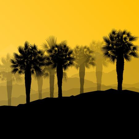 desert oasis: Palm tree desert oasis forest silhouettes wild nature landscape background illustration vector for poster
