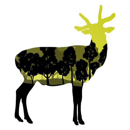 venison: Deer wild animal silhouette in nature forest landscape abstract background illustration vector Illustration