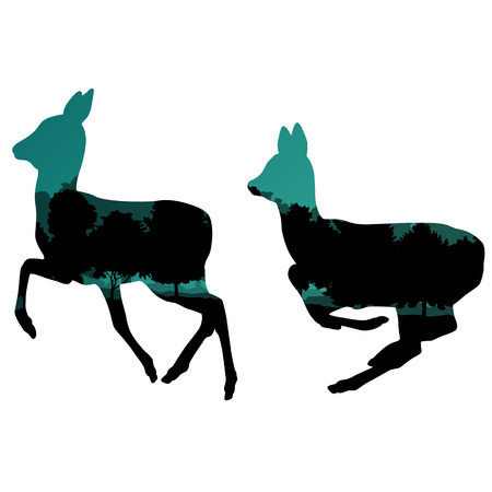 wild venison: Doe venison deer animal silhouettes in wild nature forest landscape abstract background illustration vector Illustration