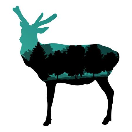 wild venison: Deer wild animal silhouette in nature forest landscape abstract background illustration vector Illustration