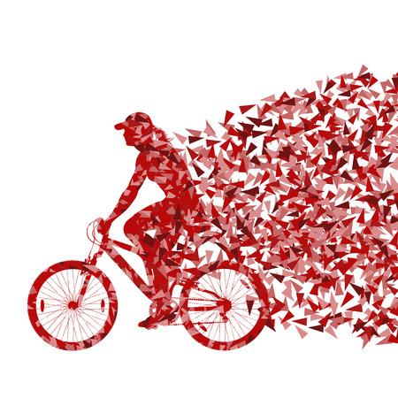 clavados: Deporte colorida bicicleta de carretera bicicleta ciclista ilustración vectorial concepto de fondo la silueta hecha de fragmentos triangulares explosión Vectores